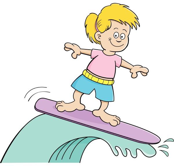 cartoon illustration of a girl surfing
