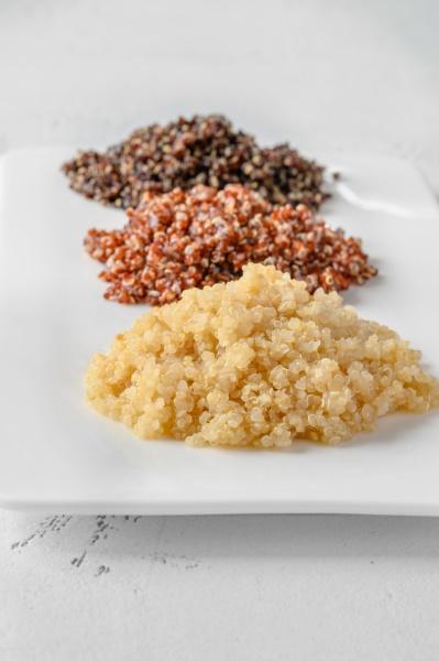 three types of cooked quinoa