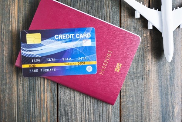 credit card put on passport on
