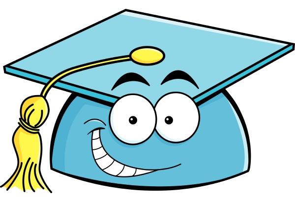 cartoon illustration of a smiling graduation