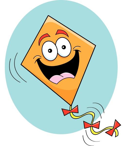cartoon illustration of a happy kite