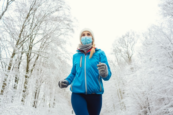 woman running or jogging with face