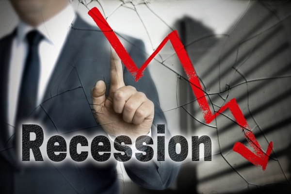 recession concept is shown by businessman
