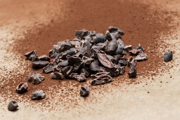 cocoa nibs on baking paper close