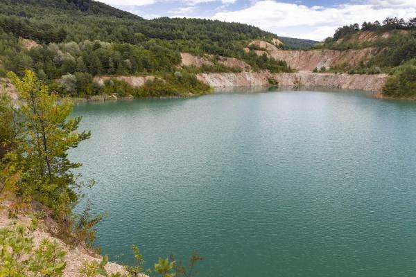 flooded former mine near skrabske slovakia