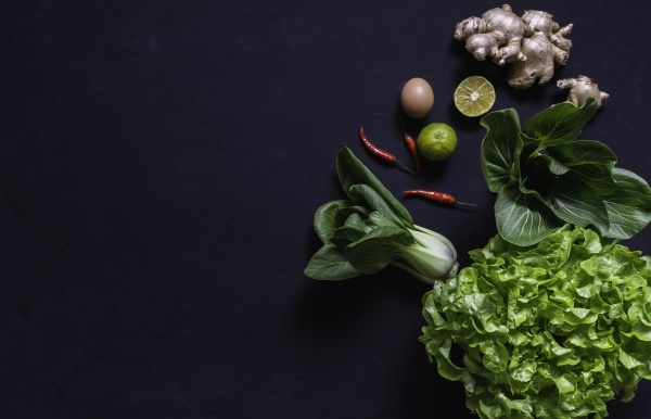 top view of vegetables and on