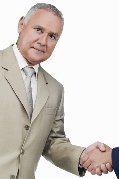 portrait of a businessman shaking hands