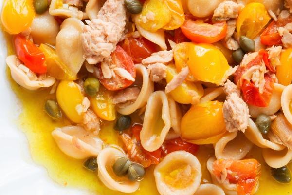 tuna orecchiette pasta and cherry tomatoes