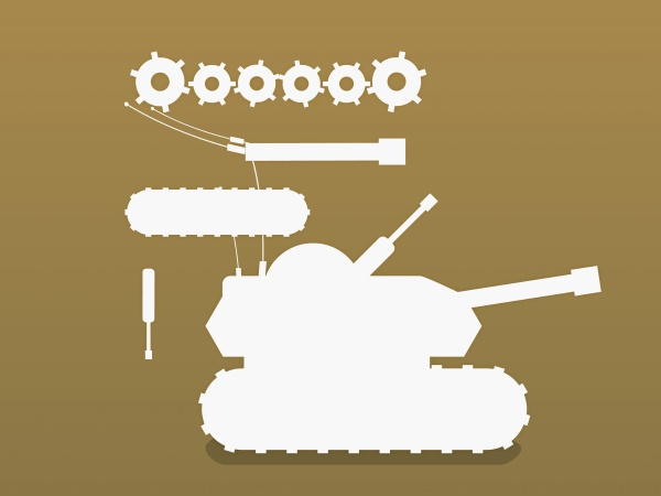 military tank on a yellow background