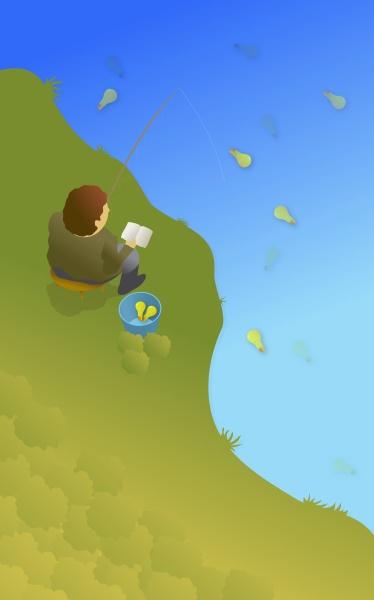 man fishing for light bulbs