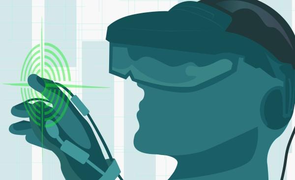 man wearing a virtual reality simulator
