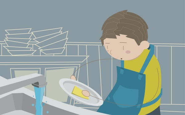 man washing dishes in the kitchen