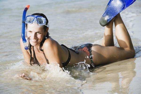 mid adult woman wearing snorkeling gear
