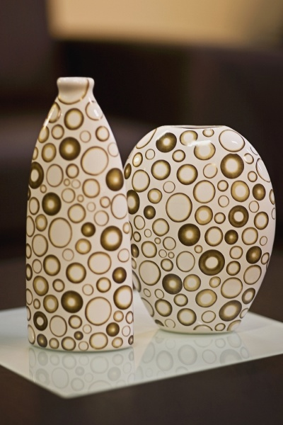 closeup of vases on a table