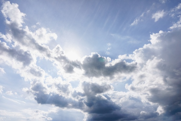 blue, sky, with, clouds, and, sun. - 29418242