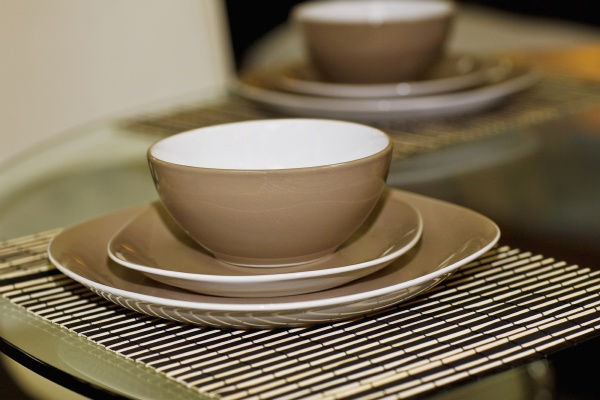 bowls and plates on a dining