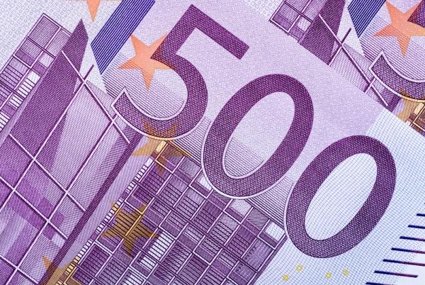closeup of a five hundred euro