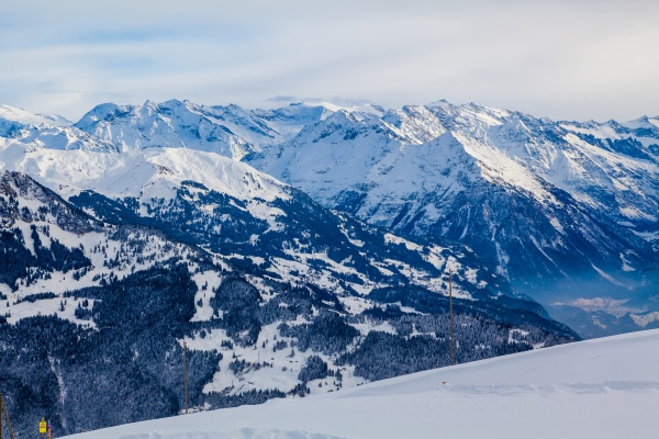 beautiful mountains and sky in winter