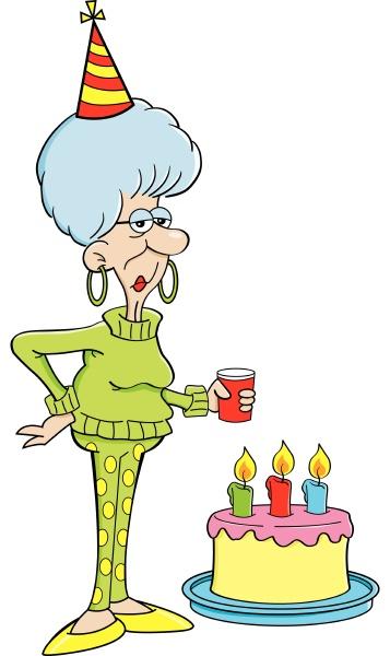 cartoon illustration of an elderly women
