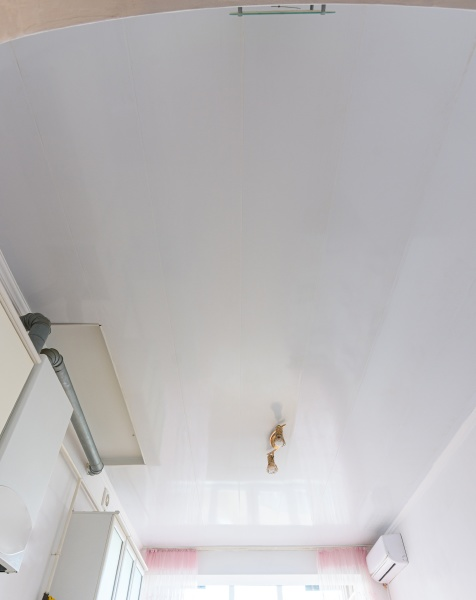 ceiling made of white plastic panels