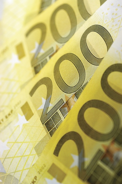 close up of two hundred euro