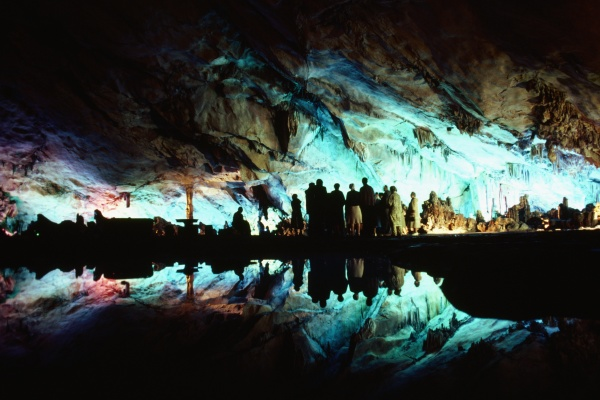tourists in a cave guilin china
