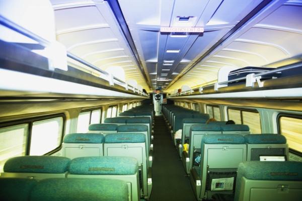 interiors of a commuter train