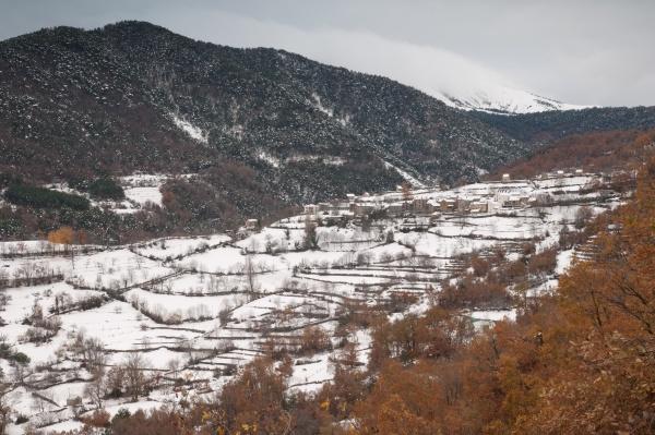 village of fragen after a snowfall
