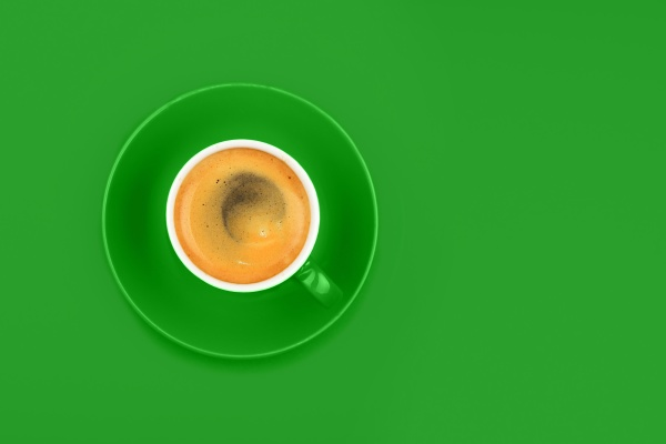 one full espresso coffee cup with