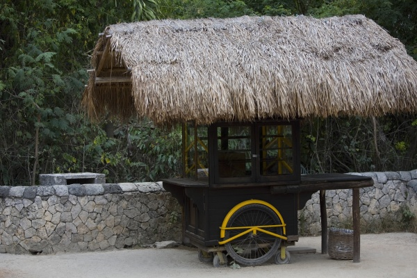thatched roof on a stall