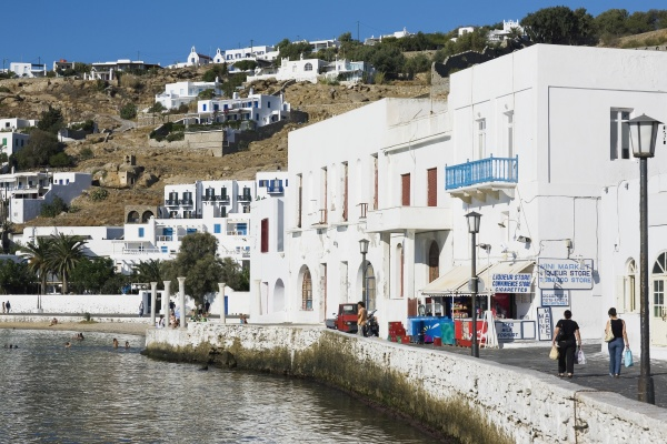 buildings at the waterfront mykonos cyclades