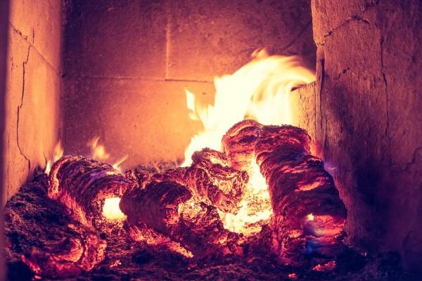 blaze fire flame in stove orange