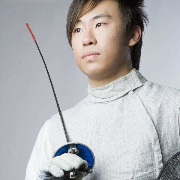 close up of a male fencer