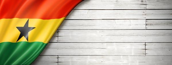 ghanaian flag flag on old white