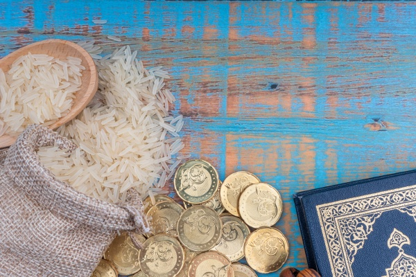 holy quran coins rosary and rice