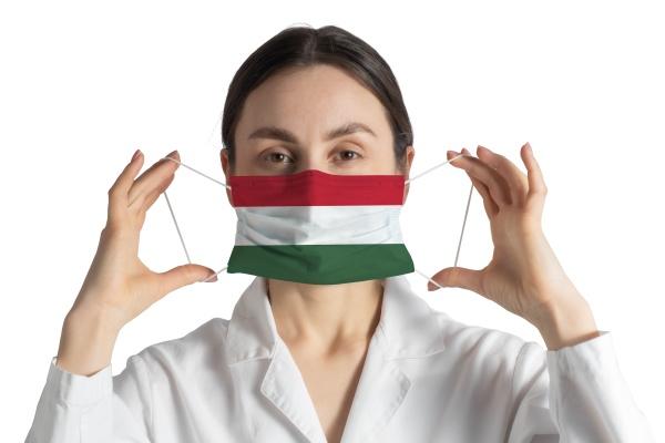 respirator with flag of hungary doctor
