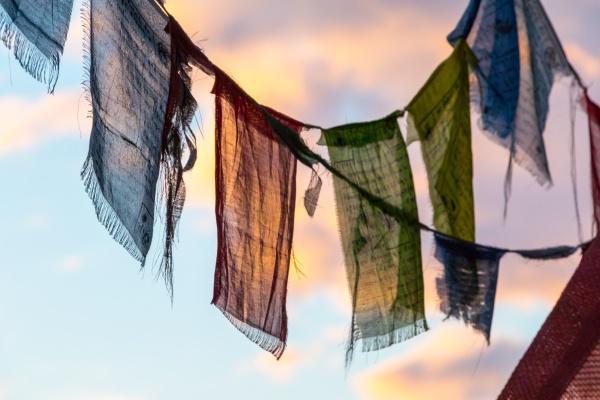 colorful tibetan prayer flag in the