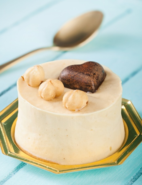 small cake with hazelnuts and chocolate