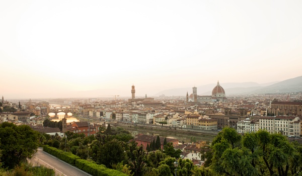golden sunset of florence italy