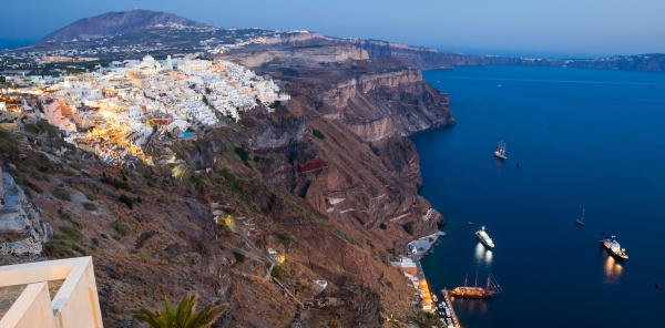 view of fira at sunset on