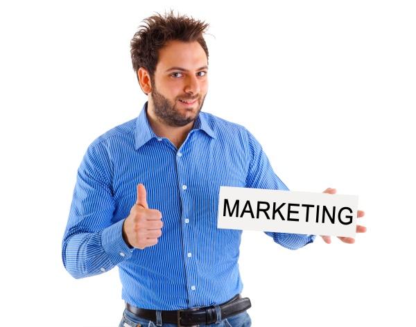 man showing placard marketing