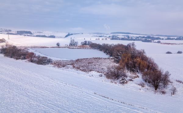 aerial bird view of beautiful winter