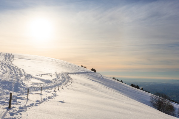 winter landscape trekking path covered by