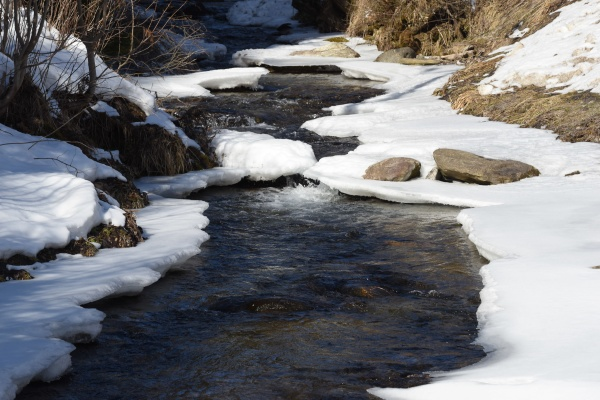 a creek on a cold winter