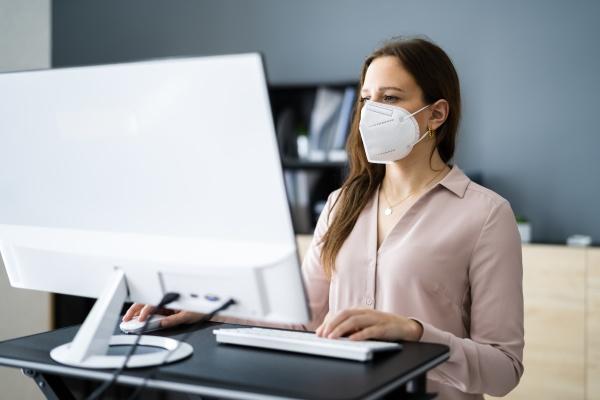 employee social distance wearing face mask