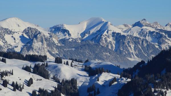 winter landscape seen from horneggli switzerland