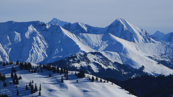 snow covered mountain ranges in the