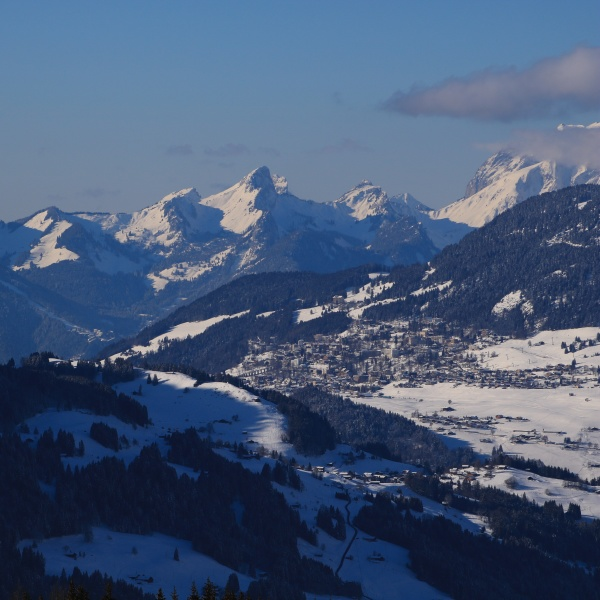 village leysin and snow covered mountain