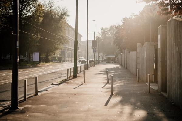 empty sidewalk during 2020 covid 19