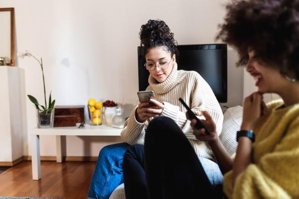 friends looking at their phones
